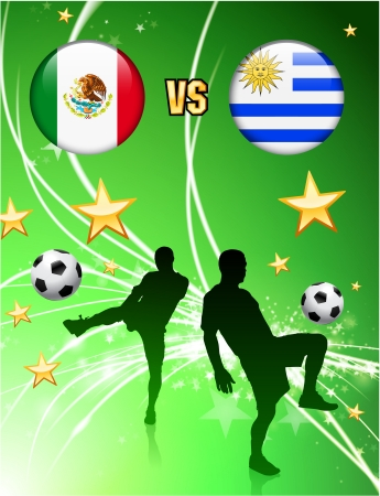 versus: Mexico versus Uruguay on Abstract Green Stars Background Original Illustration