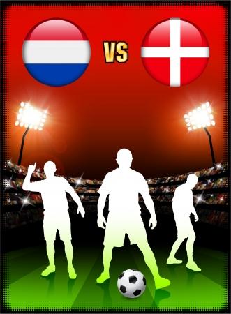 Netherlands versus Denmark on Stadium Event Background Original Illustration
