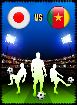 versus: Japan versus Cameroon on Stadium Event Background Original Illustration