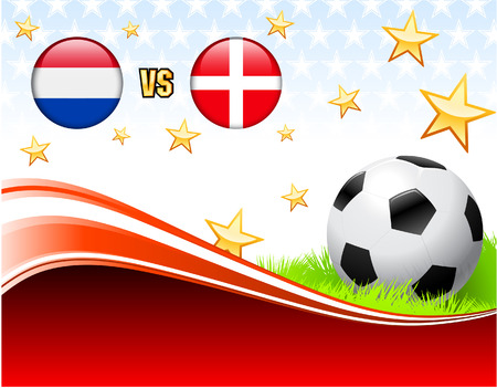 versus: Netherlands versus Denmark on Abstract Red Background with Stars Original Illustration