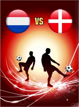 Netherlands versus Denmark on Abstract Red Light BackgroundOriginal Illustration Çizim
