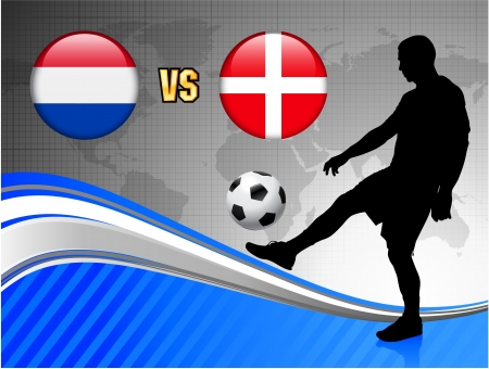 Netherlands versus Denmark on Blue Abstract World Map Background