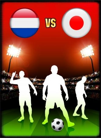 Netherlands versus Japan on Stadium Event Background Original Illustration