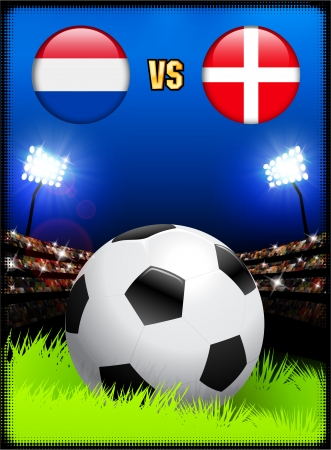 Netherlands versus Denmark on Soccer Stadium Event Background Original Illustration Vector
