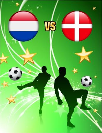 Netherlands versus Denmark on Abstract Green Stars Background Original Illustration
