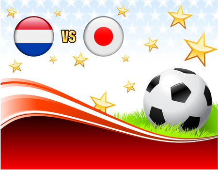 Netherlands versus Japan on Abstract Red Background with Stars Original Illustration Vector