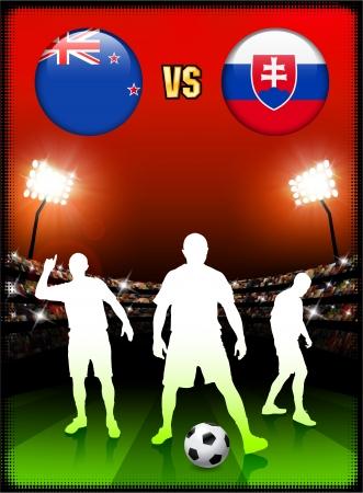 New Zealand versus Slovakia on Stadium Event Background Original Illustration Ilustração