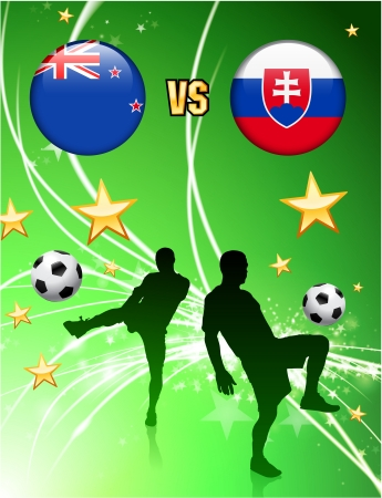 New Zealand versus Slovakia on Abstract Green Stars Background Original Illustration