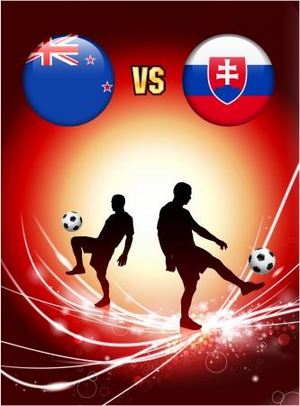 New Zealand versus Slovakia on Abstract Red Light Background Original Illustration