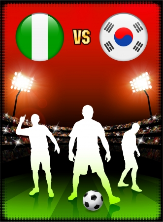 Nigeria versus South Korean on Stadium Event Background Original Illustration Vector