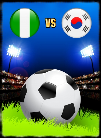 versus: Nigeria versus South Korea on Soccer Stadium Event Background Original Illustration