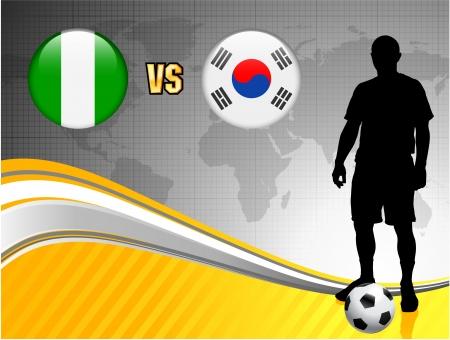Nigeria versus South Korea on Abstract World Map Background Original Illustration