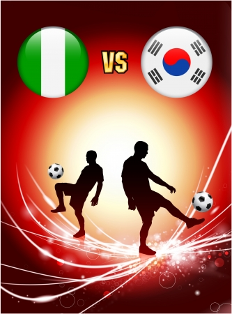 versus: Nigeria versus South Korea on Abstract Red Light Background Original Illustration Illustration
