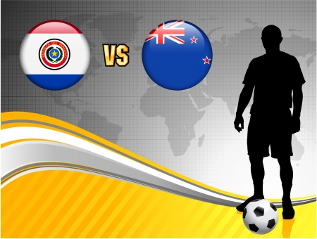 Paraguay versus New Zealand on Abstract World Map Background Original Illustration