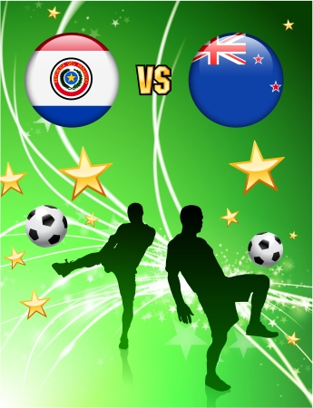 Paraguay versus New Zealand on Abstract Green Stars Background Original Illustration
