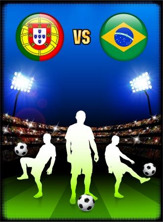 Portugal versus Brazil on Stadium Event BackgroundOriginal Illustration