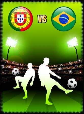 スタジアム イベント背景にブラジル対ポルトガル オリジナル イラスト  イラスト・ベクター素材