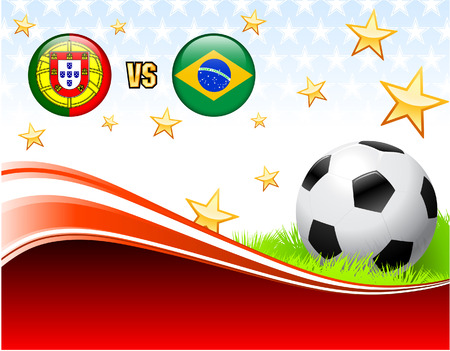 Portugal versus Brazil on Abstract Red Background with Stars Original Illustration