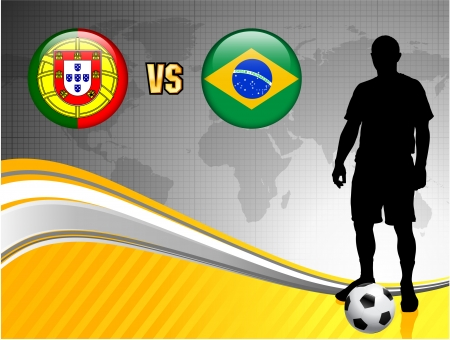 Portugal versus Brazil on Abstract World Map Background