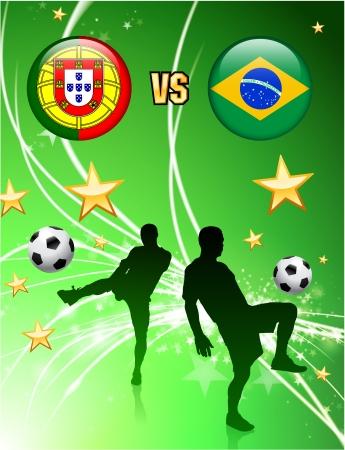 Portugal versus Brazil on Abstract Green Stars Background Original Illustration Иллюстрация