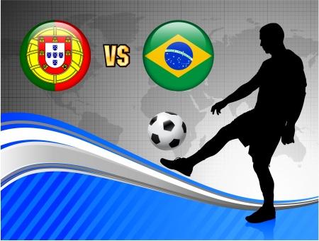 Portugal versus Brazil on Blue Abstract World Map BackgroundOriginal Illustration