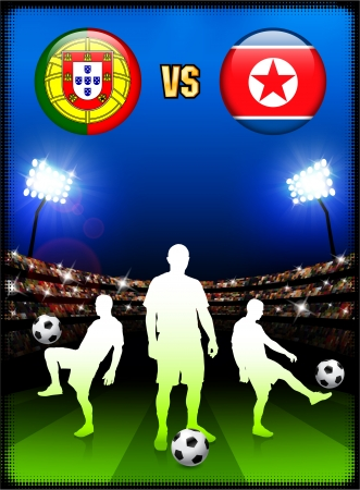 Portugal versus North Korea on Stadium Event Background Original Illustration Vector