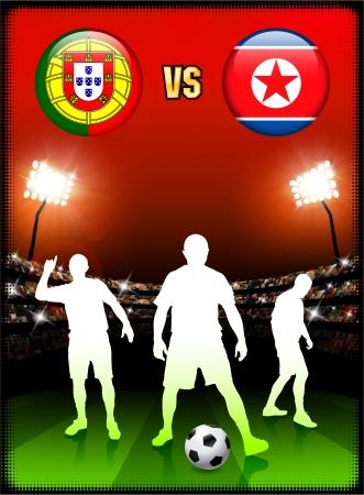 Portugal versus North Korea on Stadium Event BackgroundOriginal Illustration