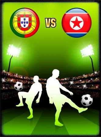 Portugal versus North Korea on Stadium Event Background Original Illustration