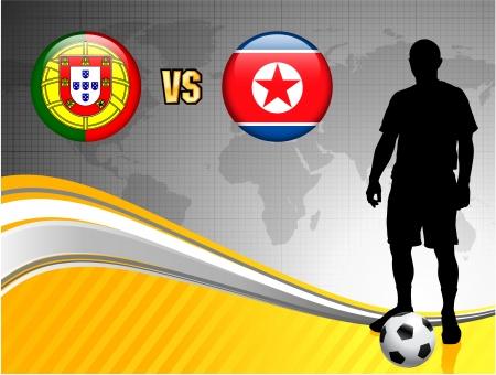 Portugal versus North Korea on Abstract World Map Background Original Illustration
