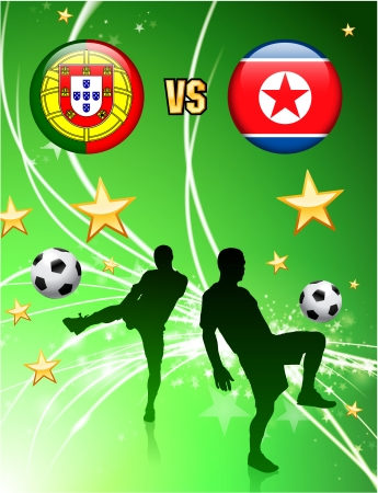 Portugal versus North Korea on Abstract Green Stars Background Original Illustration