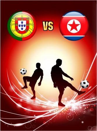 Portugal versus North Korea on Abstract Red Light BackgroundOriginal Illustration