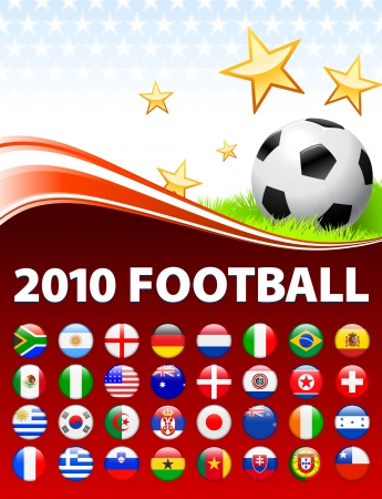 Global 2010 Soccer Event with Buttons Original Illustration Vector