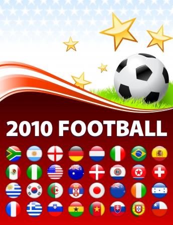 Wereldwijde 2010 voet bal evenement met knoppen Oorspronkelijke afbeelding Stock Illustratie
