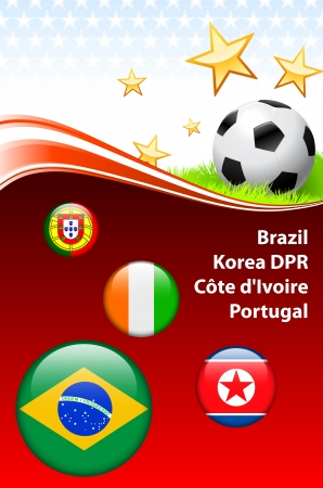 World Soccer Event Group G Original Illustration Vector
