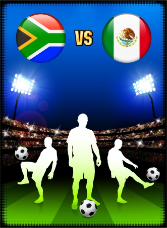 versus: South Africa versus Mexico on Stadium Event Background Original Illustration