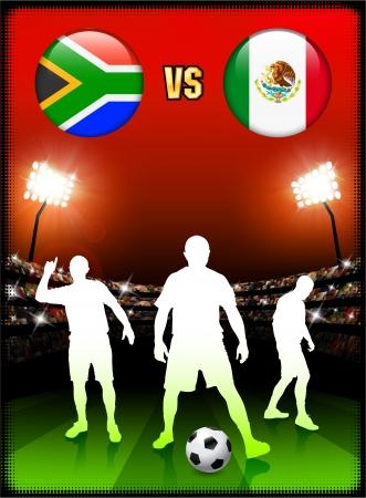 South Africa versus Mexico on Stadium Event Background Original Illustration