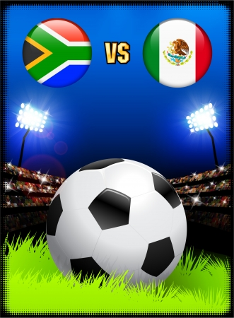 South Africa versus Mexico on Soccer Stadium Event BackgroundOriginal Illustration