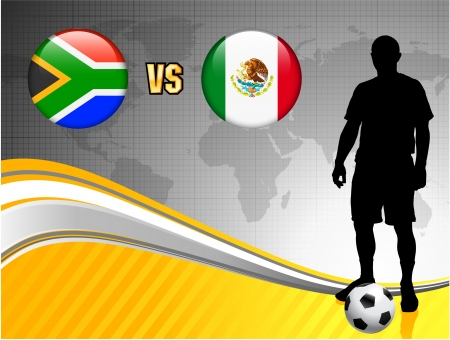 South Africa versus Mexico on Abstract World Map Background Original Illustration