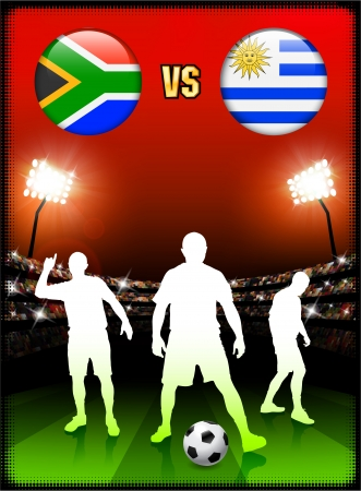 versus: South Africa versus Uruguay on Stadium Event Background Original Illustration Illustration