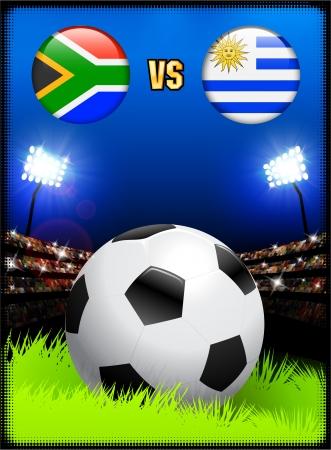South Africa versus Uruguay on Soccer Stadium Event Background Original Illustration