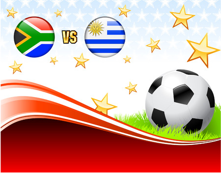 South Africa versus Uruguay on Abstract Red Background with Stars Original Illustration Ilustração