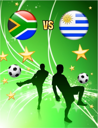 South Africa versus Uruguay on Abstract Green Stars Background Original Illustration