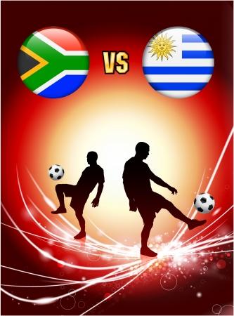 South Africa versus Uruguay on Abstract Red Light Background Original Illustration Ilustração
