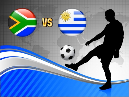 South Africa versus Uruguay on Blue Abstract World Map Background Original Illustration