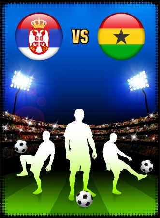 Serbia versus Ghana on Stadium Event Background Original Illustration Vector