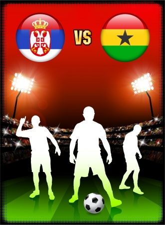 serbia: Serbia versus Ghana on Stadium Event Background Original Illustration