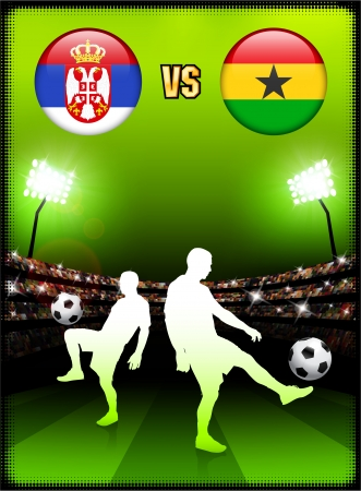 Serbia versus Ghana on Stadium Event Background