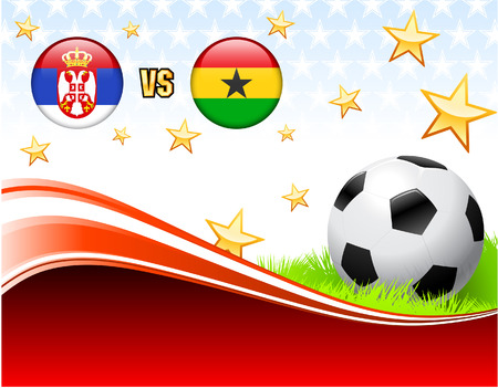 serbia: Serbia versus Ghana on Abstract Red Background with Stars Original Illustration