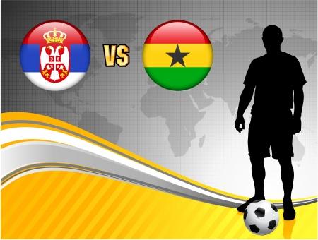 Serbia versus Ghana on Abstract World Map Background Original Illustration