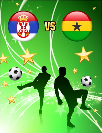 Serbia versus Ghana on Abstract Green Stars Background Original Illustration